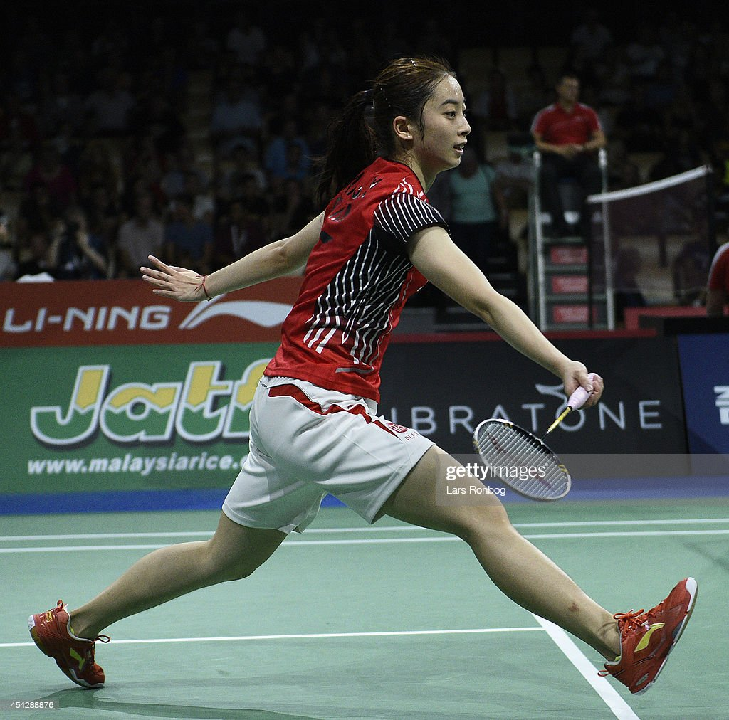 Shixian Wang of China in action during the LiNing BWF World Badminton Championships at Ballerup Super Arena on August 28 2014 in Copenhagen Denmark