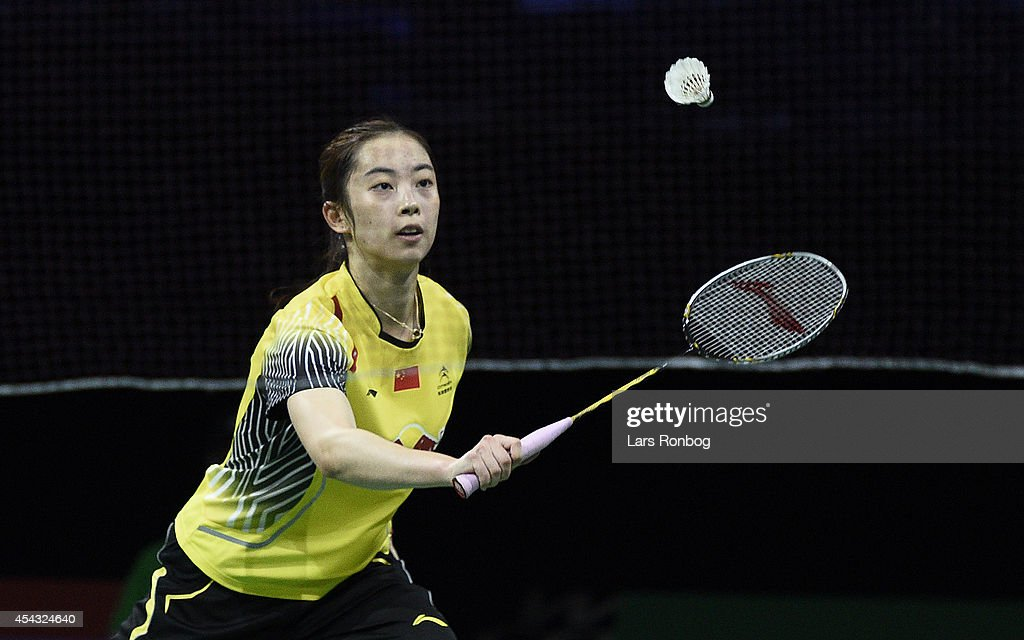 Shixian Wang of China in action in the quarter final against Sindhu P V of India during the LiNing BWF World Badminton Championships at Ballerup...