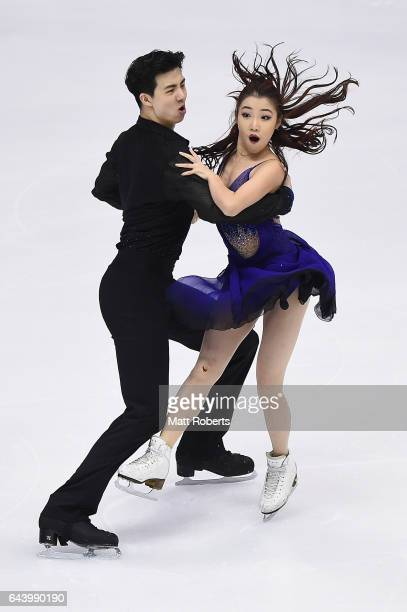 Shiyue Wang and Xinyu Liu of China compete in the Ice Dance Figure Skating on day six of the 2017 Sapporo Asian Winter Games at Makomanai Indoor...