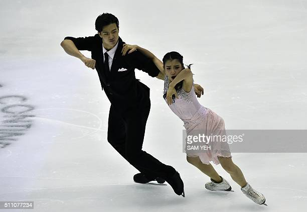 Shiyue Wang and Xinyu Liu of China perform at the Ice Dance Short Dance during the ISU Four Continents Figure Skating Championships in Taipei on...