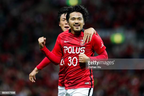 Shizo Koroki celebrates his first scoring during the JLeague J1 match between Urawa Red Diamonds and Vegalta Sendai at Saitama Stadium on April 7...