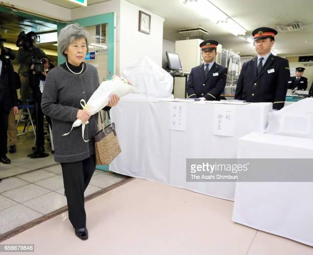 Shizue Tkahashi wife of Kazumasa Takahashi deputy stationmaster of Metro Kasumigaseki Station who was killed by the sarin gas attack 22 years ago...