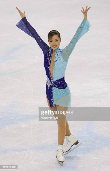 Shizuka Arakawa of Japan is announced as the gold medal winner in the women's Free Skating program of figure skating during Day 13 of the Turin 2006...
