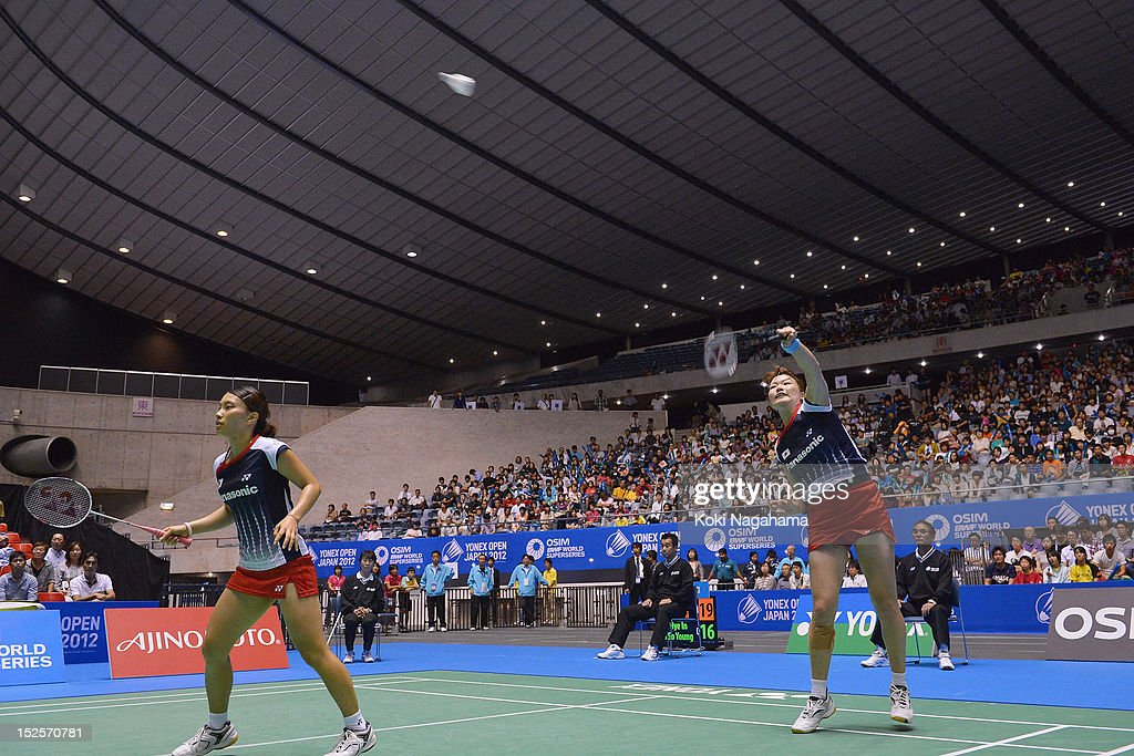 <a gi-track='captionPersonalityLinkClicked' href=/galleries/search?phrase=Shizuka+Matsuo&family=editorial&specificpeople=6139702 ng-click='$event.stopPropagation()'>Shizuka Matsuo</a> and <a gi-track='captionPersonalityLinkClicked' href=/galleries/search?phrase=Mami+Naito&family=editorial&specificpeople=7151819 ng-click='$event.stopPropagation()'>Mami Naito</a> of Japan compete in the women's doubles semi final match agaist Choi Hye In and Kim So Young of South Korea during day four of the Yonex Open Japan 2012 at Yoyogi Gymnasium on September 22, 2012 in Tokyo, Japan.