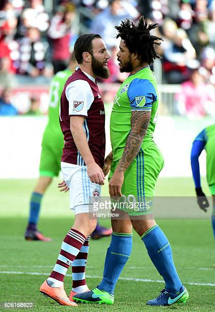 Shkelzen Gashi of Colorado Rapids confronts Roman Torres of Seattle Sounders after a collision during the firsst half at Dick's Sporting Goods Park...