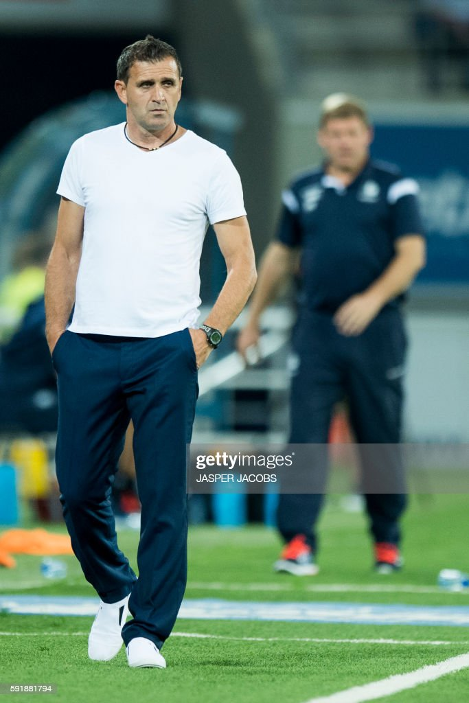 Shkendija's head coach Bruno Akrapovic looks on during the UEFA Europa League PlayOff first leg football match between KAA Gent and Shkendija on...