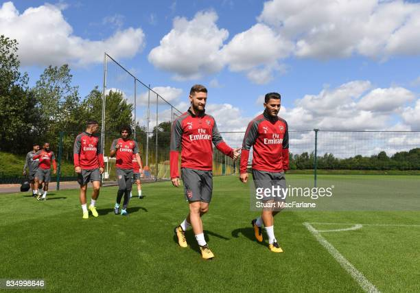 Shkodran Mustafi and Sead Kolasinac of Arsenal before a training session at London Colney on August 18 2017 in St Albans England