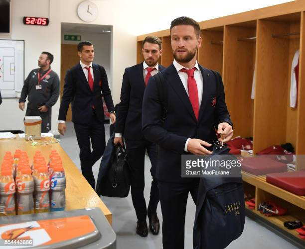 Shkodran Mustafi in the Arsenal changing room before the Premier League match between Arsenal and Manchester United at Emirates Stadium on December 2...