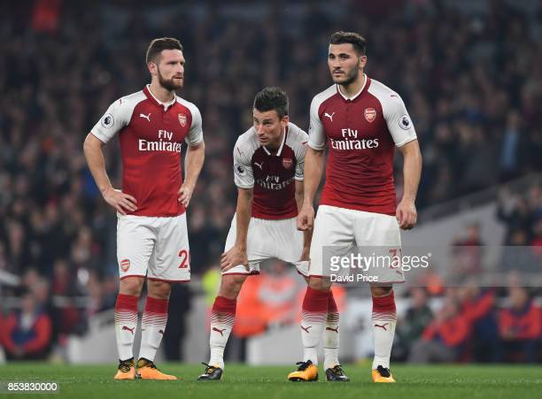 Shkodran Mustafi Laurent Koscielny and Sead Kolasinac of Arsenal during the Premier League match between Arsenal and West Bromwich Albion at Emirates...