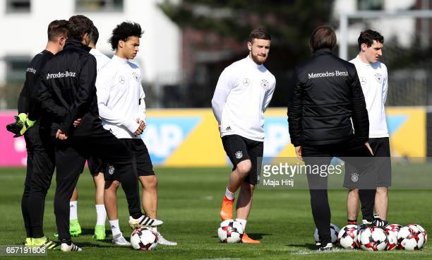 Shkodran Mustafi looks on during a Germany training session on March 24 2017 in Kamen Germany