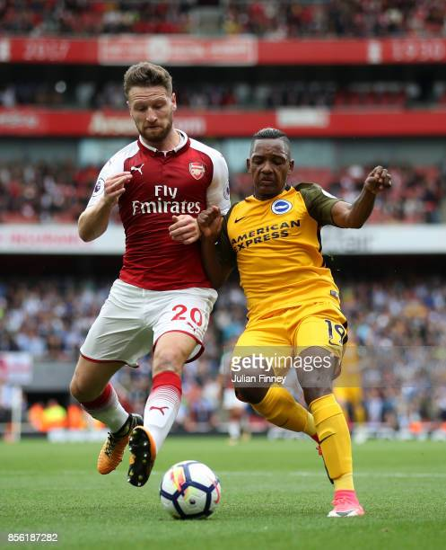 Shkodran Mustafi of Arsenal and Jose Izquierdo of Brighton and Hove Albion battle for possession during the Premier League match between Arsenal and...