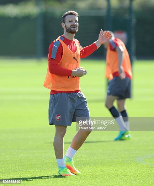 Shkodran Mustafi of Arsenal during a training session at London Colney on September 23 2016 in St Albans England