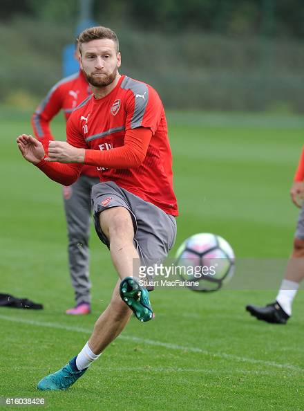 Shkodran Mustafi of Arsenal during a training session at London Colney on October 21 2016 in St Albans England