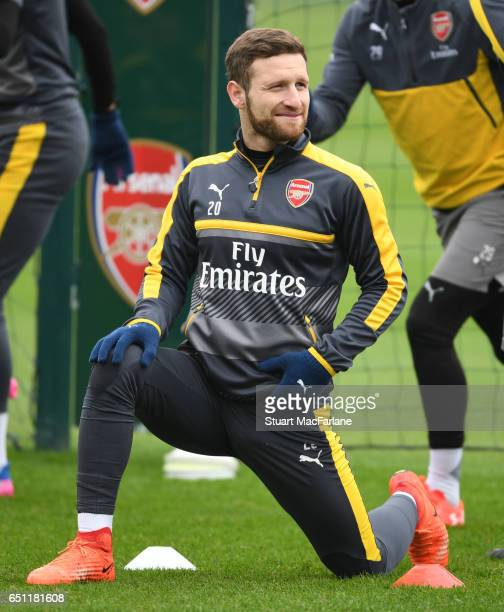 Shkodran Mustafi of Arsenal during a training session at London Colney on March 10 2017 in St Albans England