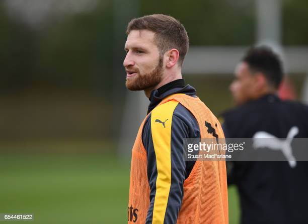 Shkodran Mustafi of Arsenal during a training session at London Colney on March 17 2017 in St Albans England