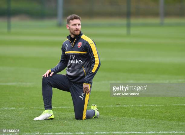 Shkodran Mustafi of Arsenal during a training session at London Colney on April 4 2017 in St Albans England