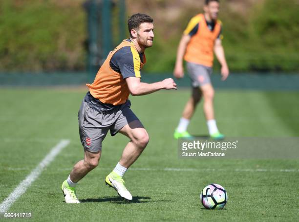 Shkodran Mustafi of Arsenal during a training session at London Colney on April 9 2017 in St Albans England