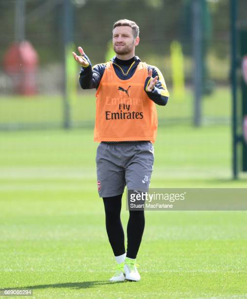 Shkodran Mustafi of Arsenal during a training session at London Colney on April 16 2017 in St Albans England