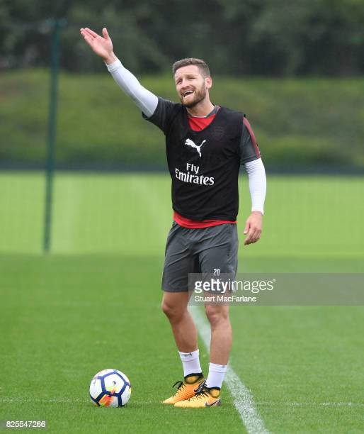 Shkodran Mustafi of Arsenal during a training session at London Colney on August 2 2017 in St Albans England