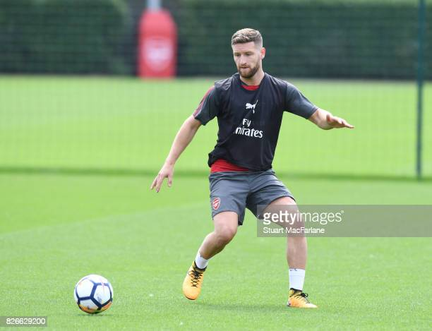 Shkodran Mustafi of Arsenal during a training session at London Colney on August 5 2017 in St Albans England