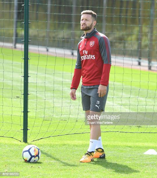 Shkodran Mustafi of Arsenal during a training session at London Colney on August 10 2017 in St Albans England
