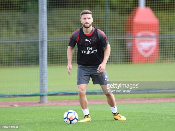 Shkodran Mustafi of Arsenal during a training session at London Colney on August 18 2017 in St Albans England