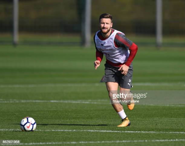 Shkodran Mustafi of Arsenal during a training session at London Colney on September 24 2017 in St Albans England