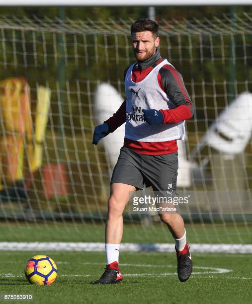 Shkodran Mustafi of Arsenal during a training session at London Colney on November 17 2017 in St Albans England