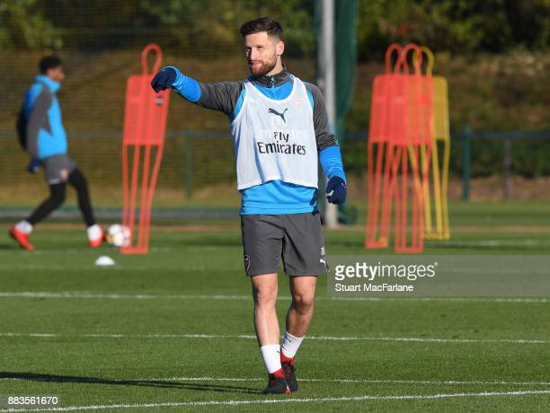 Shkodran Mustafi of Arsenal during a training session at London Colney on December 1 2017 in St Albans England