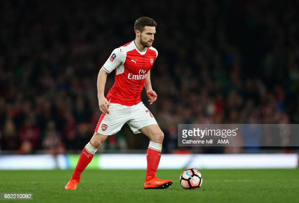 Shkodran Mustafi of Arsenal during The Emirates FA Cup QuarterFinal match between Arsenal and Lincoln City at Emirates Stadium on March 11 2017 in...
