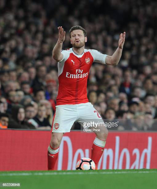 Shkodran Mustafi of Arsenal during the match between Arsenal and Lincoln City at Emirates Stadium on March 11 2017 in London England
