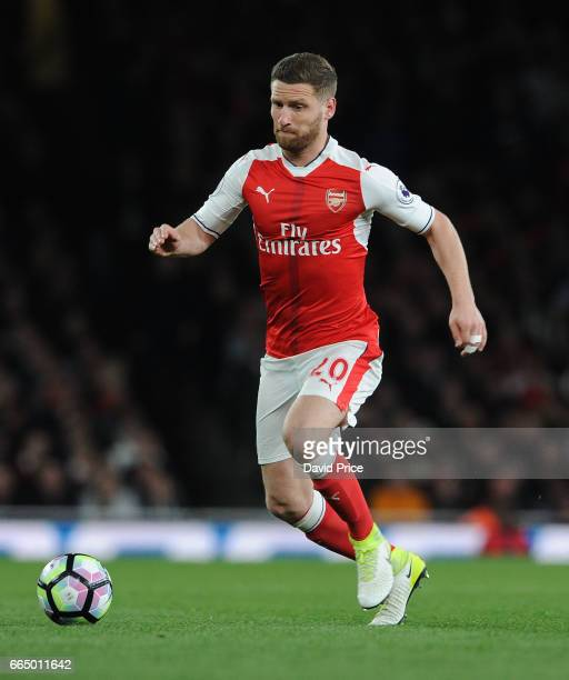 Shkodran Mustafi of Arsenal during the Premier League match between Arsenal and West Ham United at Emirates Stadium on April 5 2017 in London England