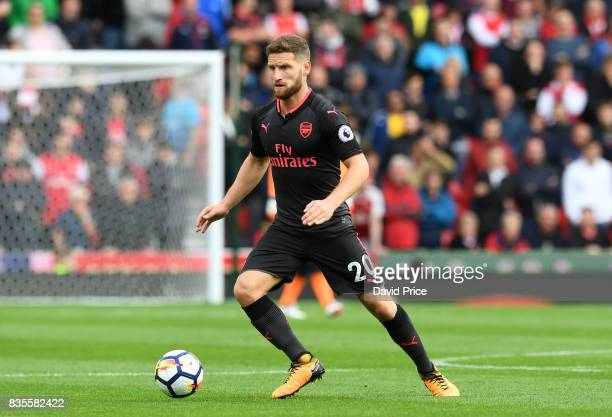 Shkodran Mustafi of Arsenal during the Premier League match between Stoke City and Arsenal at Bet365 Stadium on August 19 2017 in Stoke on Trent...