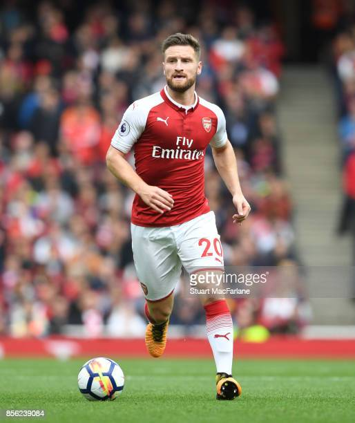 Shkodran Mustafi of Arsenal during the Premier League match between Arsenal and Brighton and Hove Albion at Emirates Stadium on September 30 2017 in...