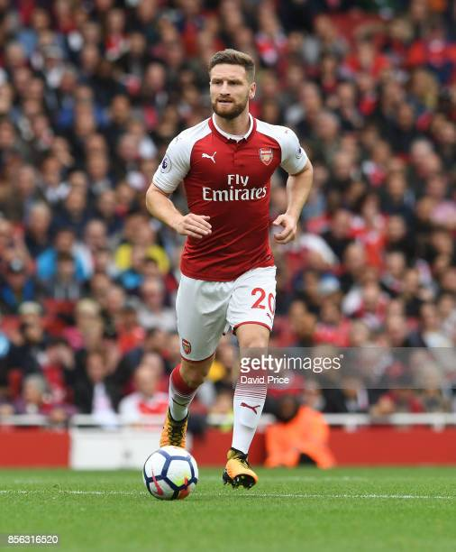 Shkodran Mustafi of Arsenal during the Premier League match between Arsenal and Brighton and Hove Albion at Emirates Stadium on October 1 2017 in...