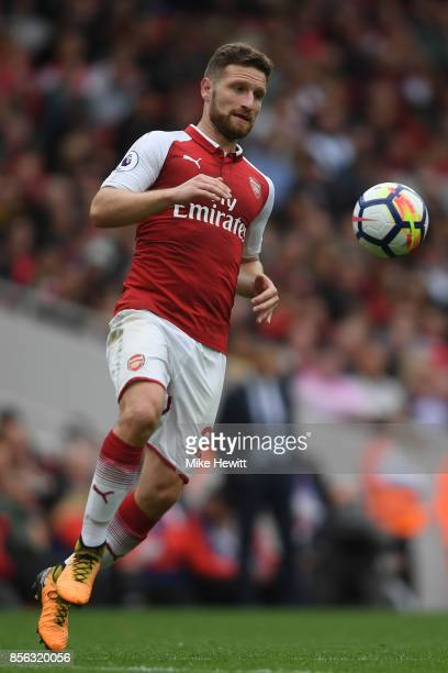 Shkodran Mustafi of Arsenal in action during the Premier League match between Arsenal and Brighton and Hove Albion at Emirates Stadium on October 1...