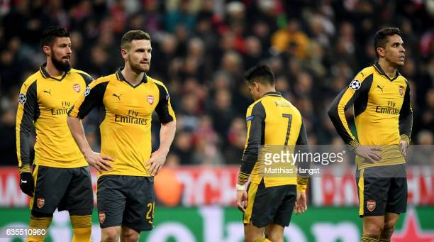 Shkodran Mustafi of Arsenal looks dejected during the UEFA Champions League Round of 16 first leg match between FC Bayern Muenchen and Arsenal FC at...