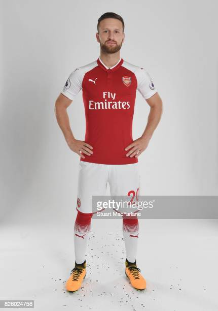 Shkodran Mustafi of Arsenal poses in a first team photocall at Emirates Stadium on August 3 2017 in London England