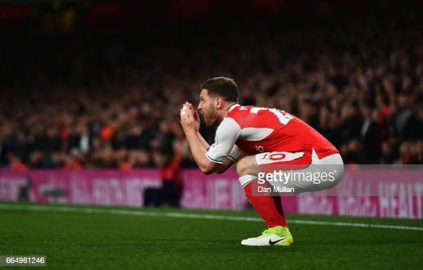 Shkodran Mustafi of Arsenal reacts during the Premier League match between Arsenal and West Ham United at the Emirates Stadium on April 5 2017 in...