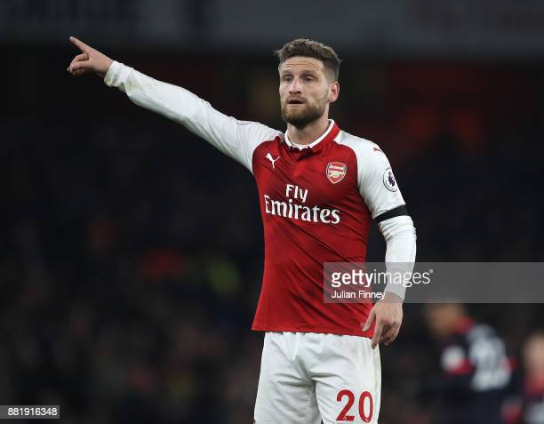 Shkodran Mustafi of Arsenal reacts during the Premier League match between Arsenal and Huddersfield Town at Emirates Stadium on November 29 2017 in...
