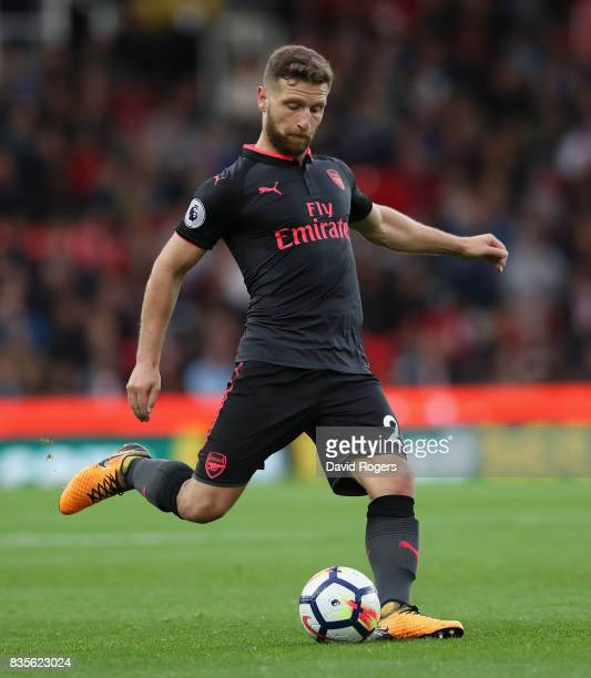 Shkodran Mustafi of Arsenal runs with the ball during the Premier League match between Stoke City and Arsenal at Bet365 Stadium on August 19 2017 in...
