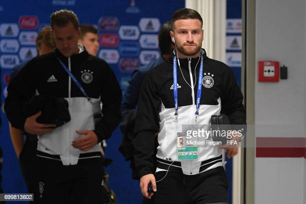 Shkodran Mustafi of Germany arrives at the stadium prior to the FIFA Confederations Cup Russia 2017 Group B match between Germany and Chile at Kazan...