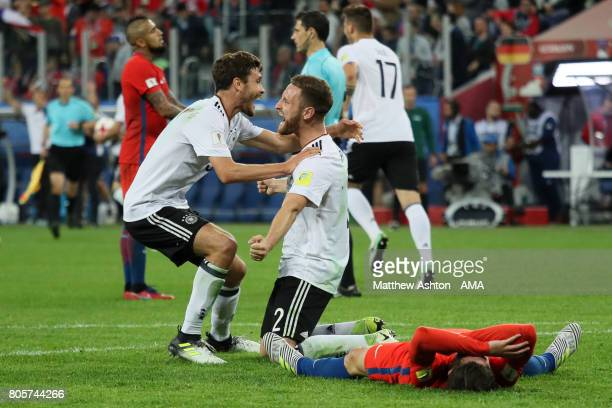 Shkodran Mustafi of Germany celebrates with Jonas Hector at the final whistle during the FIFA Confederations Cup Russia 2017 Final match between...