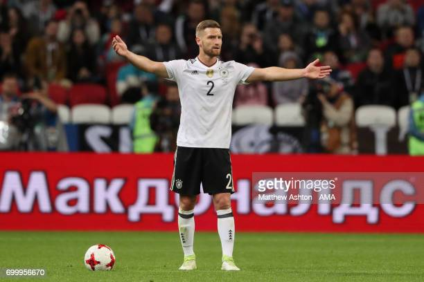 Shkodran Mustafi of Germany gestures during the FIFA Confederations Cup Russia 2017 Group B match between Germany and Chile at Kazan Arena on June 22...