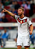 Shkodran Mustafi of Germany gestures during the International Friendly match between Germany and USA at RheinEnergieStadion on June 10 2015 in...