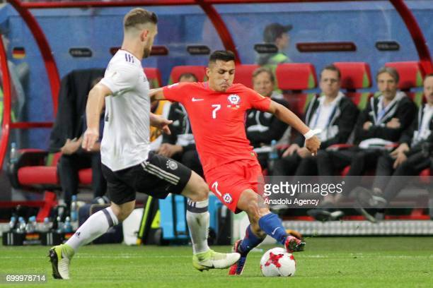 Shkodran Mustafi of Germany in action against Alexis Sanchez of Chile during the FIFA Confederations Cup 2017 group B soccer match between Germany...