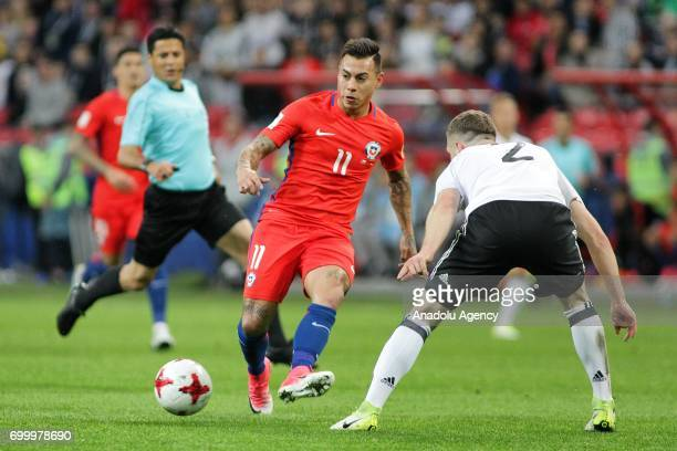 Shkodran Mustafi of Germany in action against Eduardo Vargas of Chile during the FIFA Confederations Cup 2017 group B soccer match between Germany...