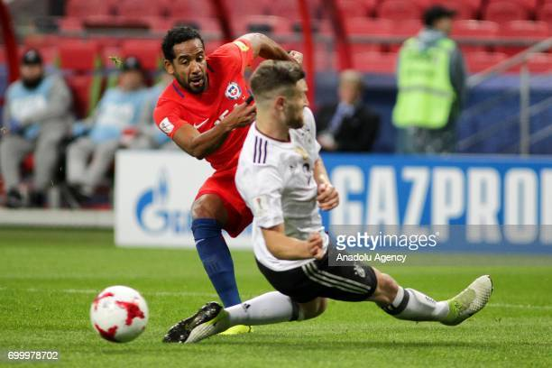 Shkodran Mustafi of Germany in action against Jean Beausejour of Chile during the FIFA Confederations Cup 2017 group B soccer match between Germany...
