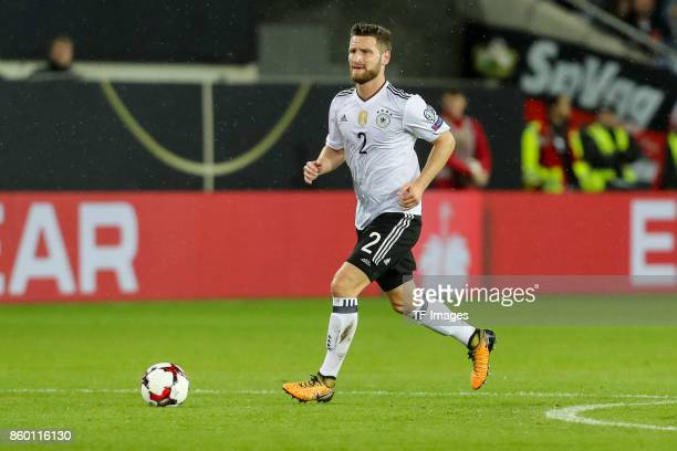 Shkodran Mustafi of Germany in action during the FIFA 2018 World Cup Qualifier between Germany and Azerbaijan at FritzWalter Stadium on October 8...