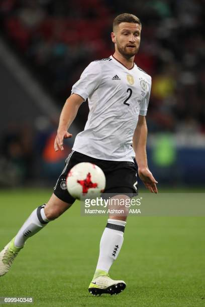 Shkodran Mustafi of Germany in action during the FIFA Confederations Cup Russia 2017 Group B match between Germany and Chile at Kazan Arena on June...